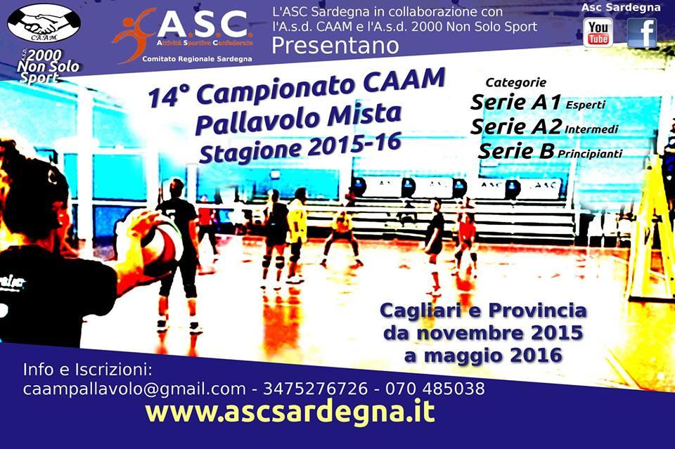 14° Campionato CAAM di pallavolo mista amatoriale e tutti gli eventi dell'anno sportivo 2015/2016 a Cagliari