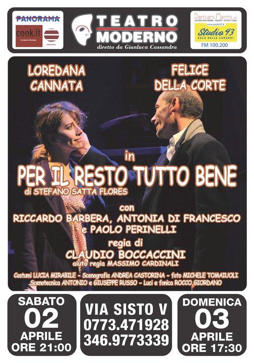 """""""Per il resto tutto bene"""", Teatro Moderno di Latina, 2/3 Aprile"""