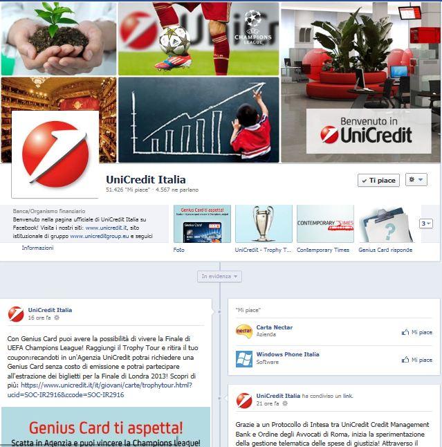 Facebook: 50000 fans per la pagina di cultura, economia e finanza di UniCredit