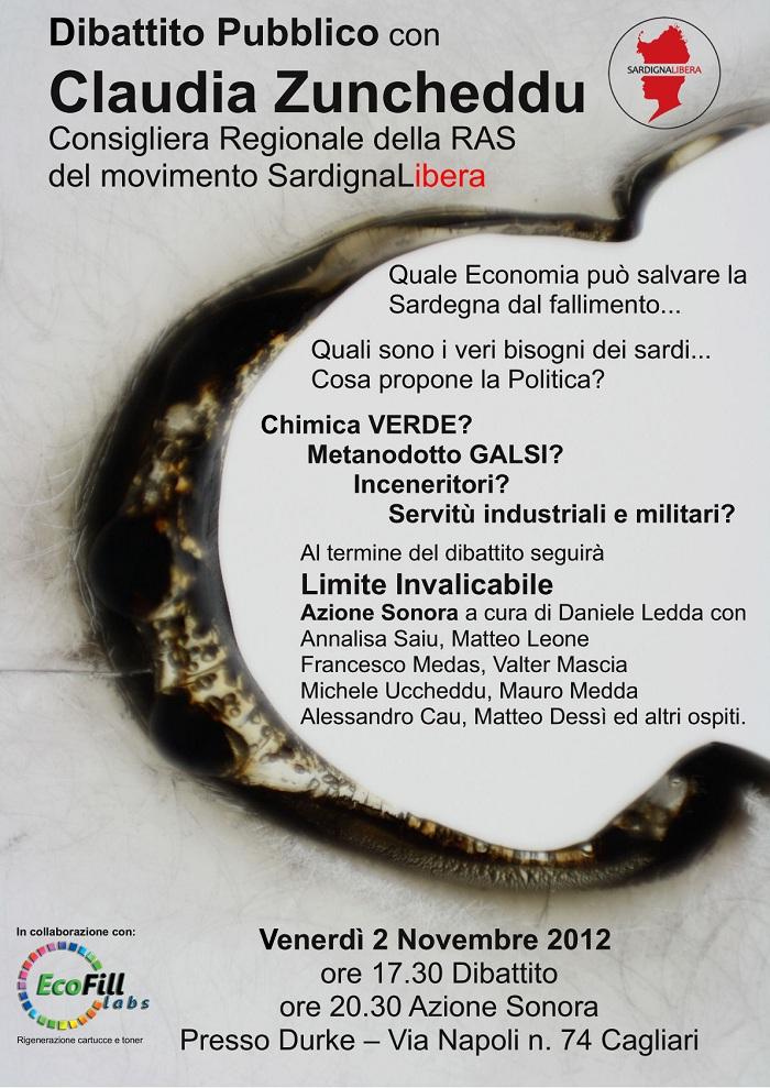 """Dibattito con il Consigliere Regionale Claudia Zuncheddu ed Azione Sonora """"Limite Invalicabile"""", 2 novembre, Cagliari"""