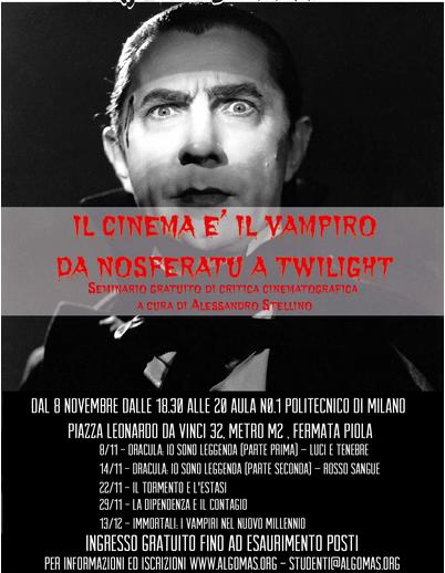 """""""Il cinema è il Vampiro"""": da Nosferatu a Twilight, dal 8 novembre al 13 dicembre, Milano"""