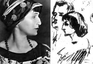 Anna Akhmatova - Sketch of Anna Akhmatova and Mikhail Lozinsky by Sergey Gorodetsky, 1913