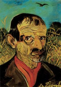 Antonio Ligabue - Autoritratto con sciarpa rossa - 1956