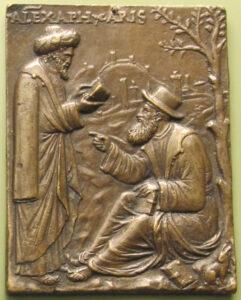 Aristotele e Alessandro di Afrodisia (a sinistra), placchetta del XVI secolo - Andrea Briosco
