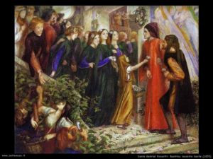 Beatrice incontra Dante - Painting by Dante Gabriel Rossetti - 1855