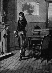 Bonaparte rappresentato in una incisione mentre getta il libro Justine nel fuoco (attribuita a P. Cousturier) - 1885