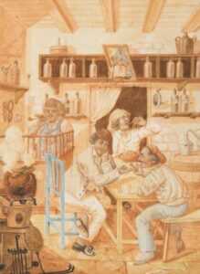 Bottega maltese - acquerello Charles Frederick de Brocktorff