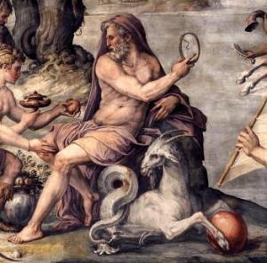Dettaglio Saturno de I primi frutti della terra offerti a Saturno - Painting by Giorgio Vasari - 1556