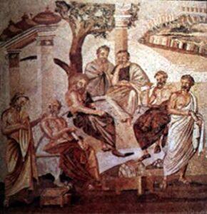 Dettaglio di un mosaico pompeiano che illustra un incontro di filosofi