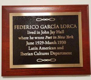 ederico Garcia Lorca - placca commemorativa New York