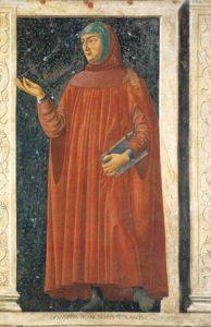 Francesco Petrarca - particolare dell'affresco Ciclo degli uomini e donne illustri - Andrea dal Castagno 1450 circa