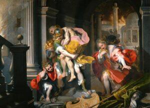Fuga di Enea da Troia - Painting by Federico Barocci - 1598