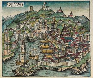 Genova in una xilografia del 1483 di Michael Wohlgemuth da Il Liber Chronicarum di Hartmann Schedel