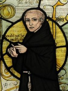 Guglielmo di Occam raffigurato sulla vetrata di una chiesa nella contea del Surrey
