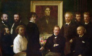 Hommage à Delacroix - Painting by Henri Fantin-Latour - Seduto a destra Charles Baudelaire