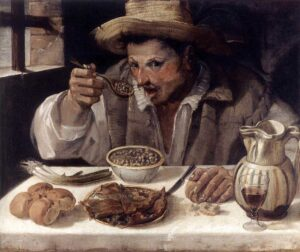 Il mangiafagioli - Painting by Annibale Carracci - 1584