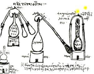 Illustrazione da un manoscritto greco bizantino di Zosimo - attrezzatura per la distillazione