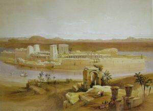 Isola di File vista dall'isola di Bigeh - Painting by David Roberts - 1838