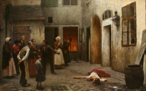 Jakub Schikaneder, Omicidio in casa (1890) - Femminicidio