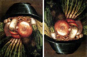 L'Ortolano o Ortaggi in una ciotola (Natura morta reversibile) - Medesimo dipinto ruotato di 180°