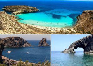 Lampedusa Spiaggia dei Conigli - Pantelleria Punta Tracino e il Faraglione - Pantelleria Arco dell'Elefante