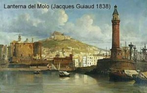 Lanterna del Molo - painting by Jacques Guiaud - 1838