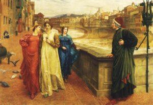 L'incontro immaginario fra Dante e Beatrice (con il vestito bianco) - Painting by Henry Holiday, 1883