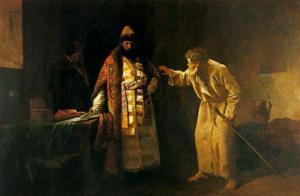 Lo zar Ivan il Terribile nella cella dello jurodivyj Nikolaj Salos a Pskov - I. Pelevin, 1877