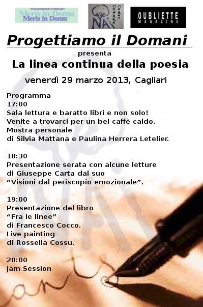 """""""Progettiamo il domani"""" presenta La linea continua della poesia, venerdì 29 marzo 2013, Cagliari"""
