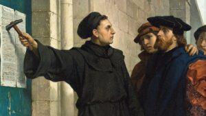 Lutero illustra le sue 95 tesi appena affisse - Painting by Ferdinand Pauwels