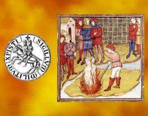 Morte dei Templari Geoffrey de Charnay e Jacques de Molay - miniatura