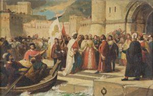 Otello rientra a Venezia accolto da Desdemona e dal popolo - by Alfonso Chierici
