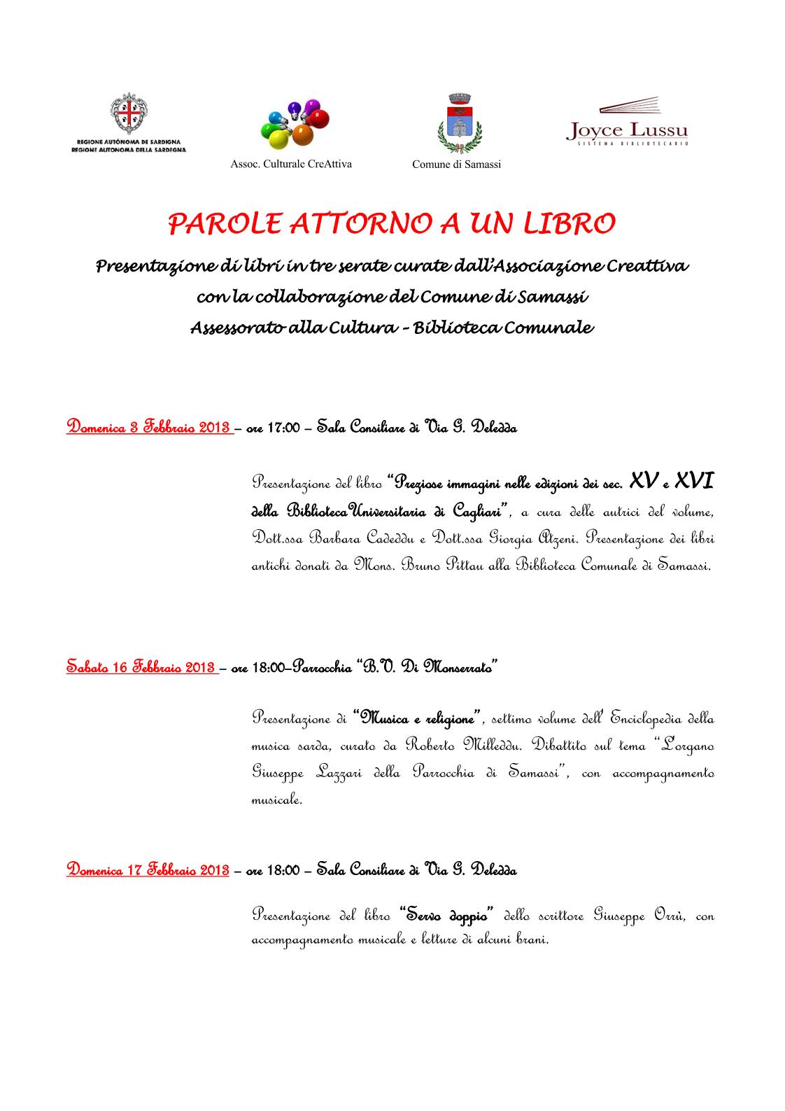 """""""Parole attorno a un libro"""", tre serate letterarie, dal 3 al 17 febbraio 2013, Samassi"""