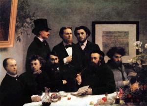 Paul Verlaine, Arthur Rimbaud, Léon Valade, Ernest d'Hervilly, Camille Pelletan, Pierre Elzéar, Emile Blémont and Jean Aicard