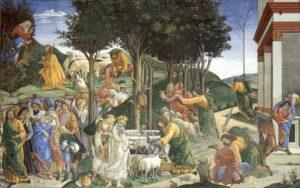 Prove di Mosè - Painting by Sandro Botticelli - 1481-1482