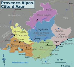 Provenza mappa - Photo by Wikivoyage