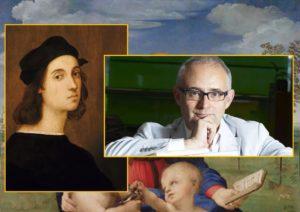Raffello Sanzio - presunto autoritratto 1506 - Marco Carminati - Sfondo Madonna del cardellino