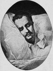 Ritratto di Honoré de Balzac, disegnato un'ora dopo la sua morte - Painting by Eugène Giraud