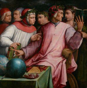 Sei poeti toscani (da destra Cavalcanti, Dante, Boccaccio, Petrarca, Cino da Pistoia e Guittone d'Arezzo) - Painting by Giorgio Vasari, 1544