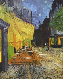 Terrazza del caffè la sera, Place du Forum, Arles - Painting by Vincent Van Gogh - 1888