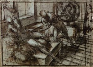Tintoretto - gessetto su carta preparatorio per Vulcano e Venere - 1551