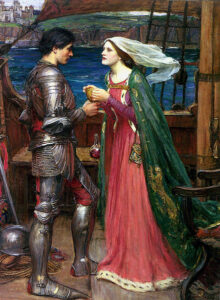 Tristan and Isolde with the Potion - Paintin by John William Waterhouse - 1916