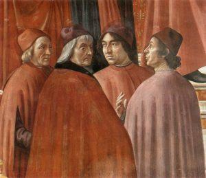 Zaccaria nel Tempio - in dettaglio Marsilio Ficino, Cristoforo Landino, Agnolo Poliziano e Gentile de' Becchi - Painting by Domenico Ghirlandaio