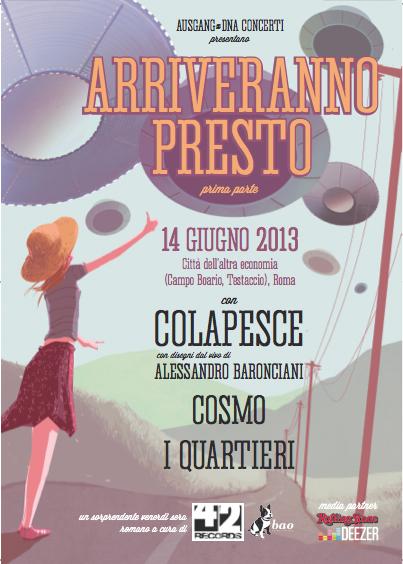 """Colapesce e Marcello e il mio amico Tommaso al festival """"Arriveranno presto"""", 13 – 14 giugno e 19 luglio, Roma"""