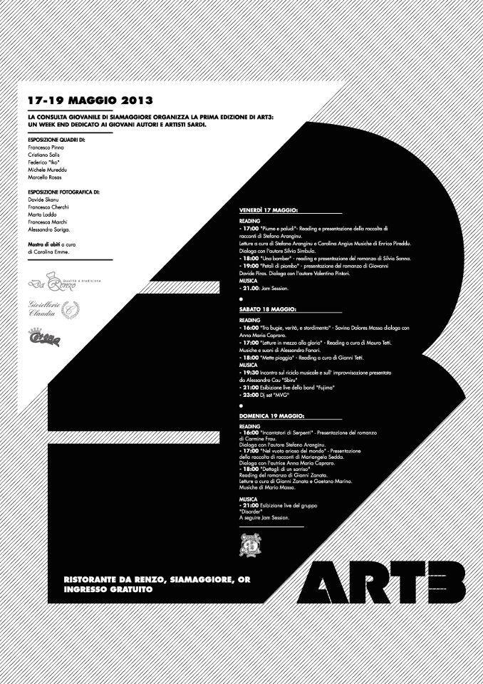 """""""Art3"""", un festival artistico di tre giorni, dal 17 al 19 maggio 2013, Siamaggiore (OR)"""