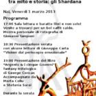 """""""Progettiamo il domani"""" presenta  tra mito e storia: gli Shardana, 1 marzo, Cagliari"""
