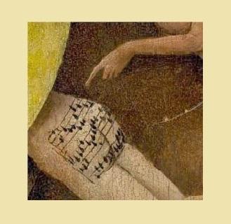 """""""Il giardino delle Delizie"""", dipinto di Hieronymus Bosch: sui glutei di un uomo torturato è raffigurato uno spartito"""