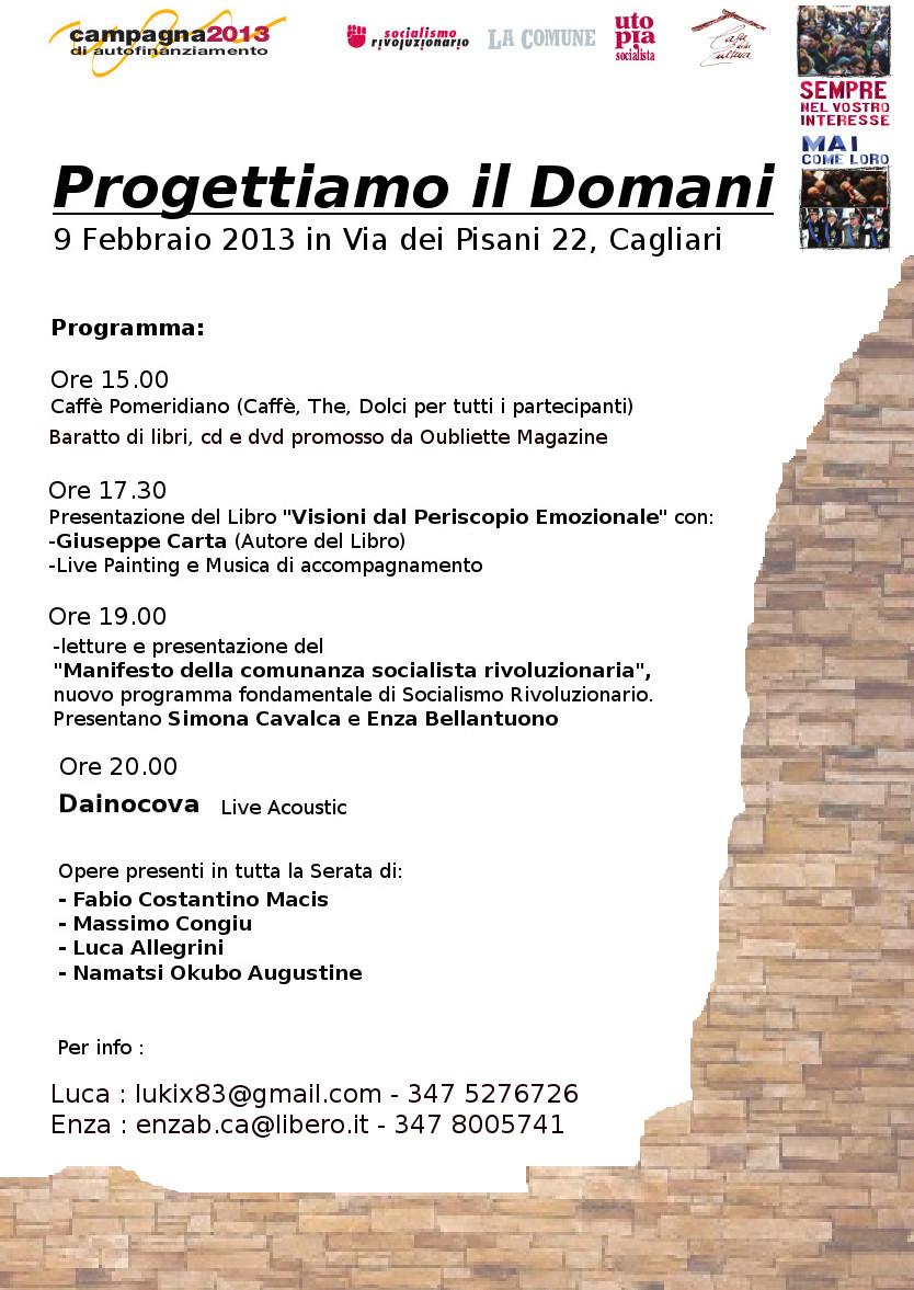"""""""Progettiamo il domani"""", mostra fotografica, live painting e poesia, 9 febbraio 2013, Cagliari"""