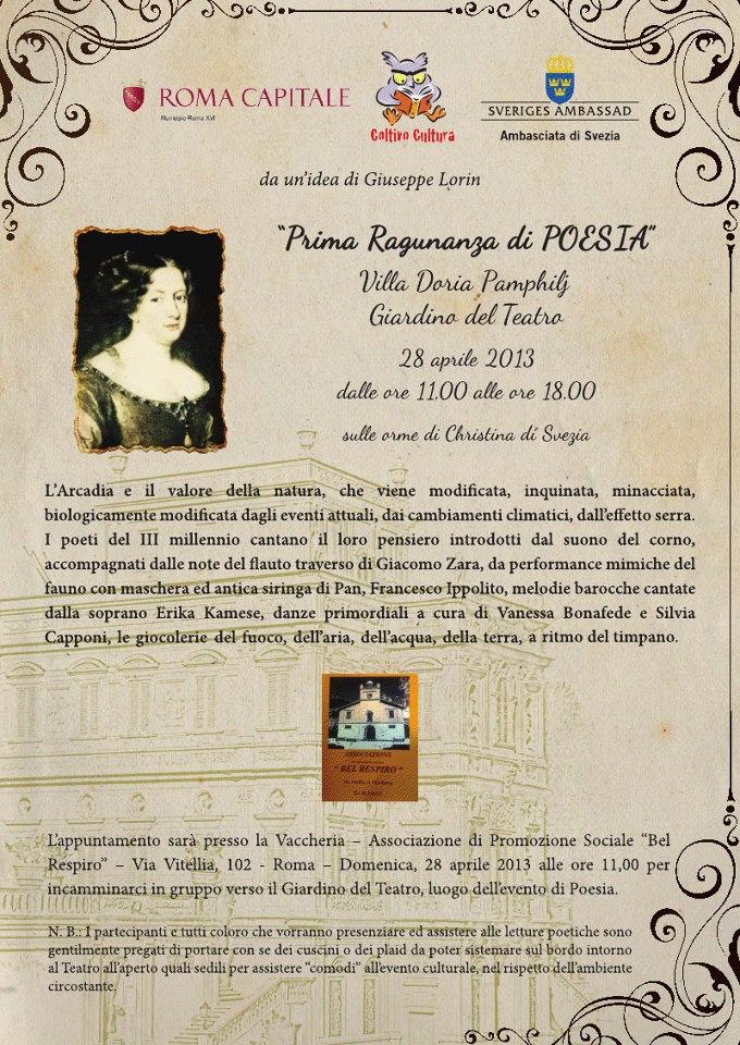 Sulle orme di Christina di Svezia, I Ragunanza di Poesia, 28 aprile 2013, Roma