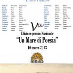 """Finalisti della V Edizione del Premio Nazionale """"Un mare di poesia"""": finale il 16 marzo 2013 a Roma"""